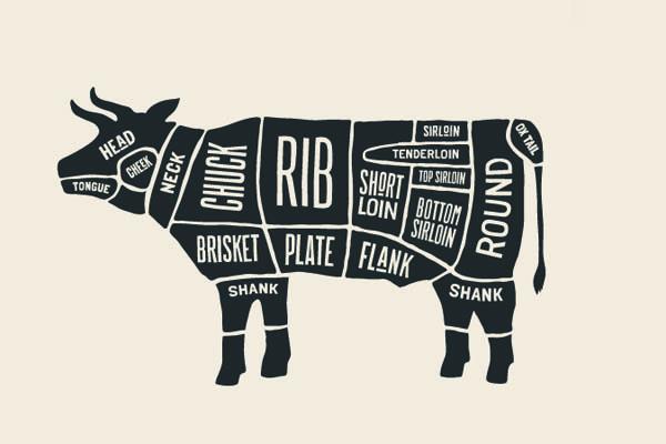Grafik der Rinderzuschnitte dargestellt auf einem Rind