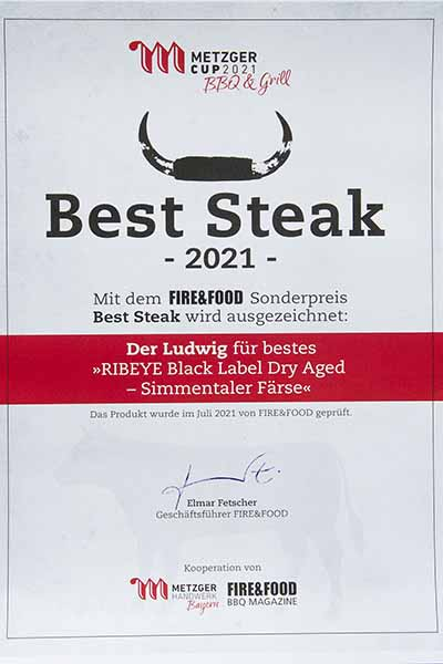 Urkunde Best Steak 2021
