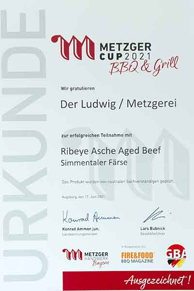 Auszeichnung vom Metzger Cup BBQ & Grill 2021